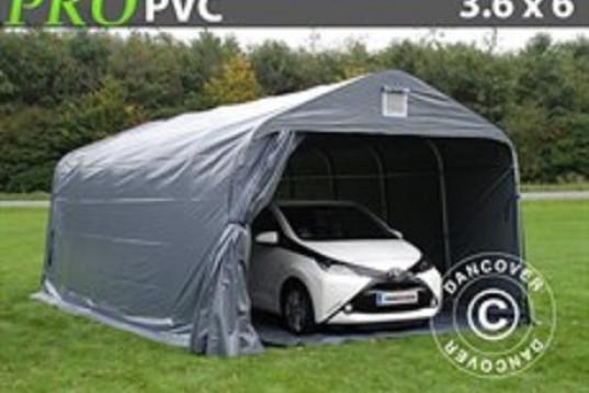 Garagetält PRO 3,6 x 6,0 x 2,7 PVC Grå med Golvduk